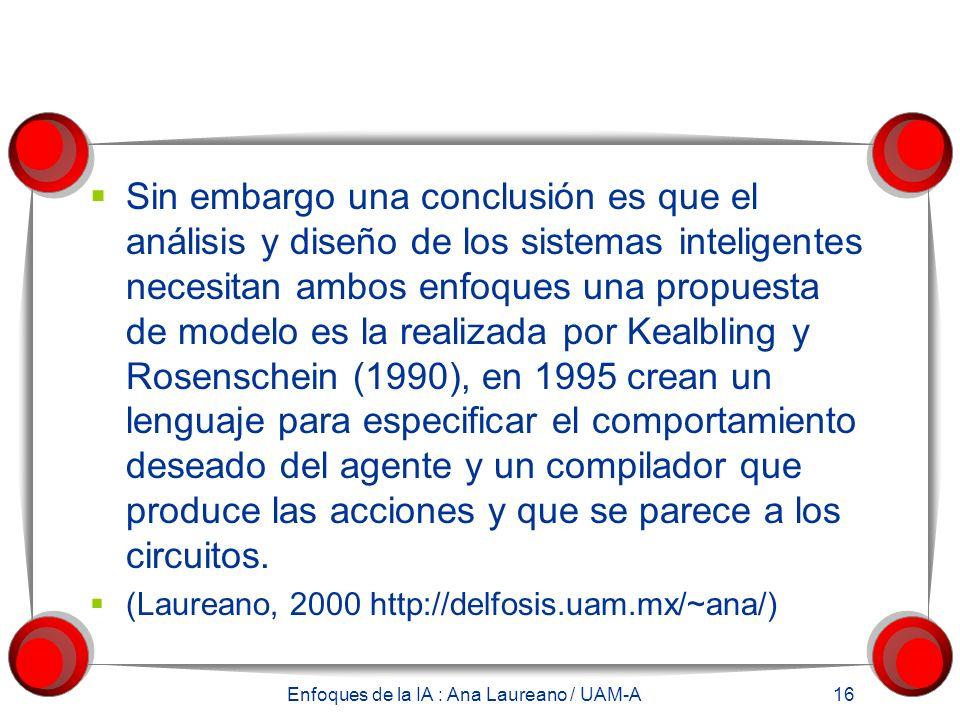 Enfoques de la IA : Ana Laureano / UAM-A