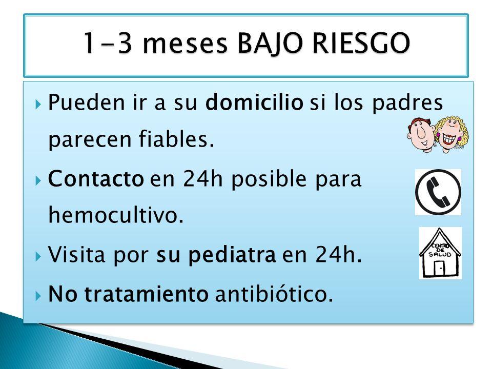1-3 meses BAJO RIESGO Pueden ir a su domicilio si los padres parecen fiables. Contacto en 24h posible para hemocultivo.