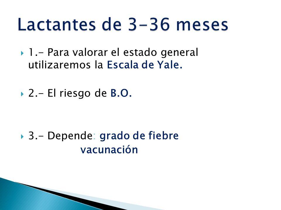 Lactantes de 3-36 meses 1.- Para valorar el estado general utilizaremos la Escala de Yale. 2.- El riesgo de B.O.