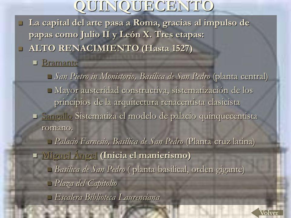 QUINQUECENTO La capital del arte pasa a Roma, gracias al impulso de papas como Julio II y León X. Tres etapas: