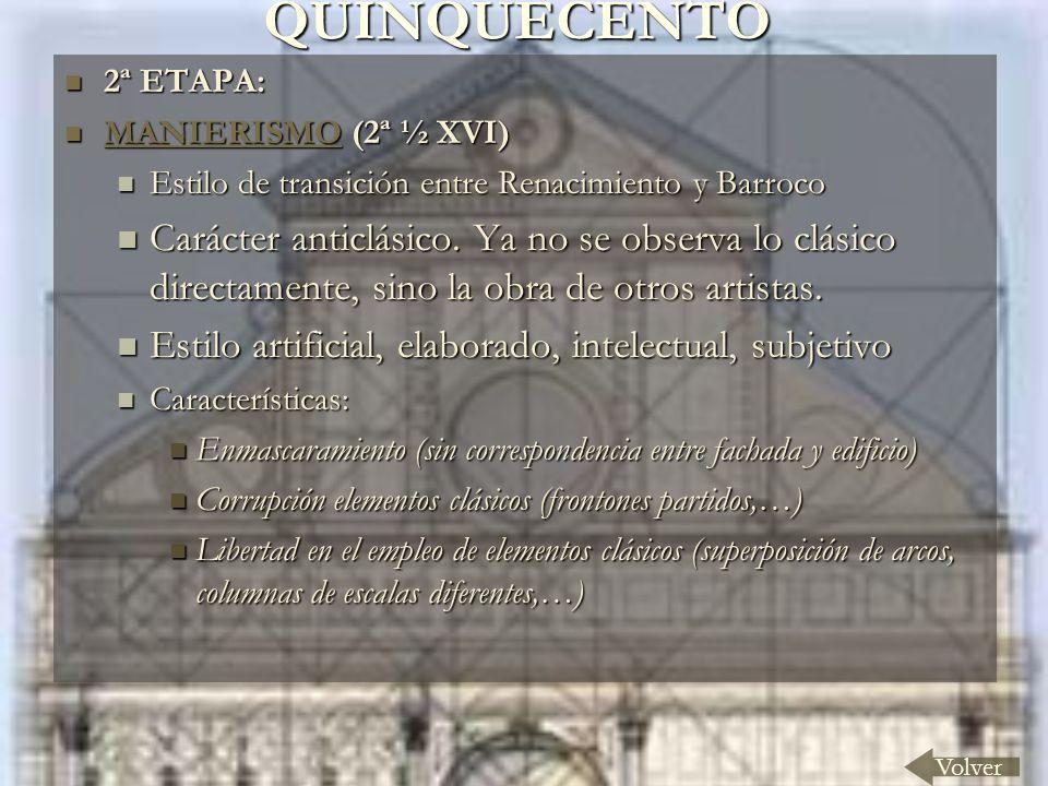 QUINQUECENTO 2ª ETAPA: MANIERISMO (2ª ½ XVI) Estilo de transición entre Renacimiento y Barroco.