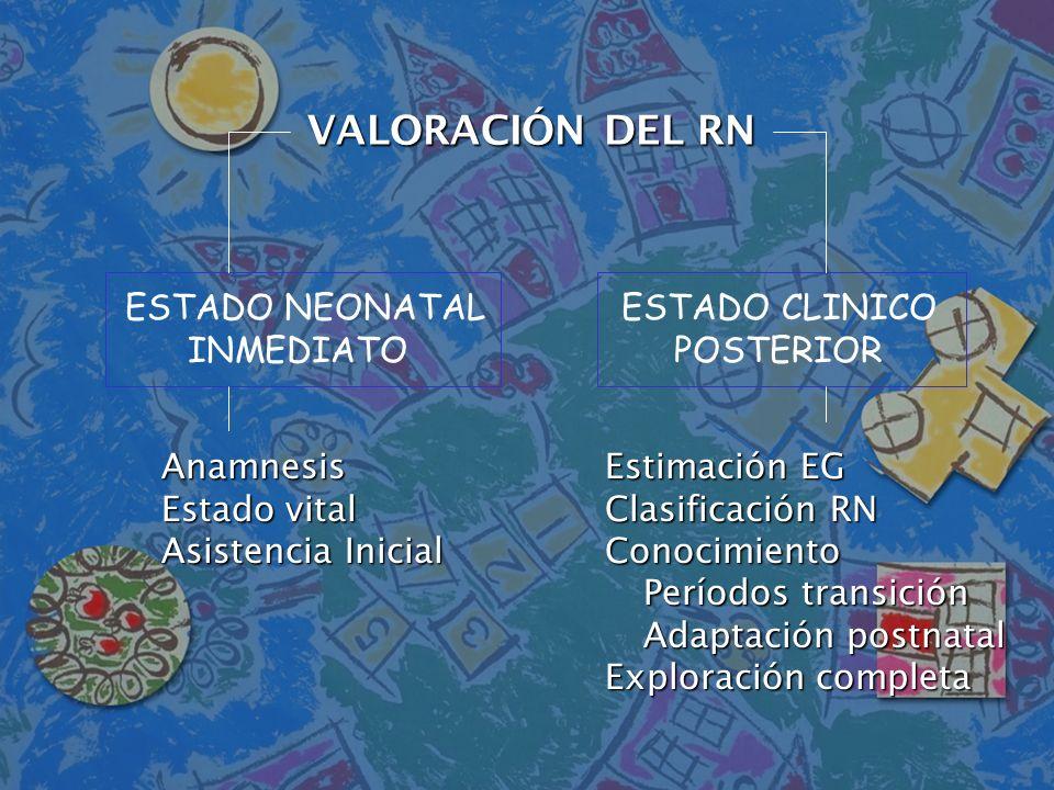VALORACIÓN DEL RN ESTADO NEONATAL INMEDIATO ESTADO CLINICO POSTERIOR