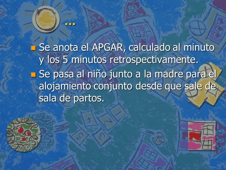 ... Se anota el APGAR, calculado al minuto y los 5 minutos retrospectivamente.