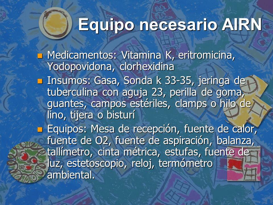 Equipo necesario AIRN Medicamentos: Vitamina K, eritromicina, Yodopovidona, clorhexidina.