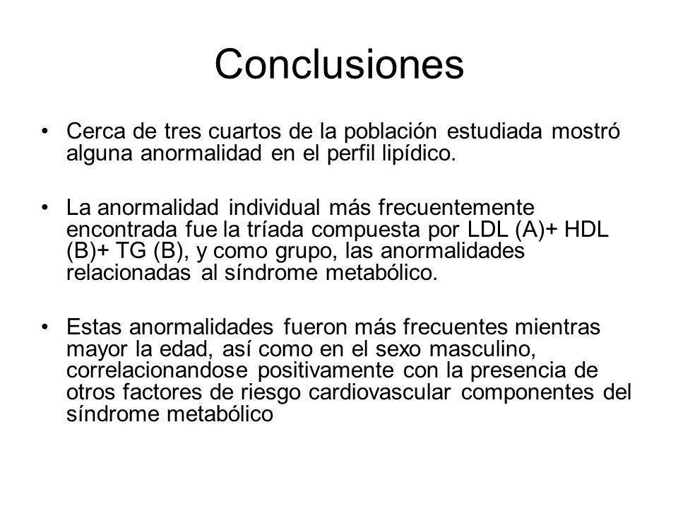 Conclusiones Cerca de tres cuartos de la población estudiada mostró alguna anormalidad en el perfil lipídico.