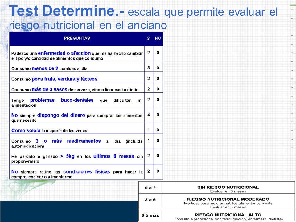 Test Determine.- escala que permite evaluar el riesgo nutricional en el anciano