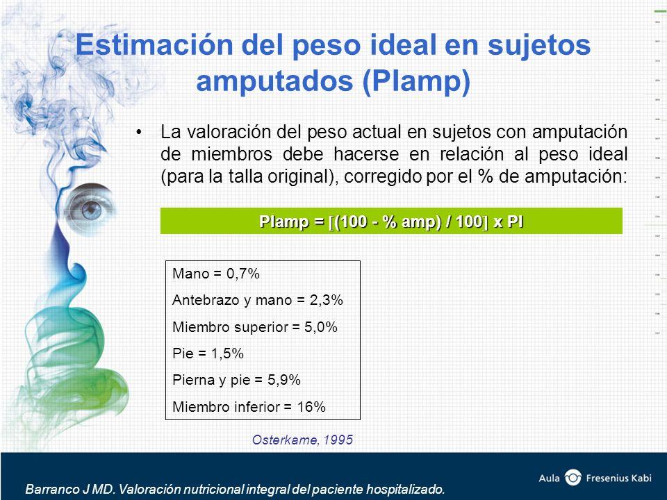 Estimación del peso ideal en sujetos amputados (PIamp)