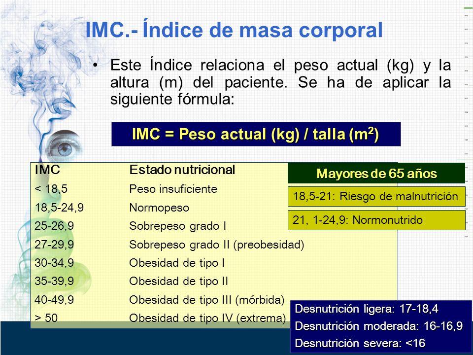 IMC = Peso actual (kg) / talla (m2)