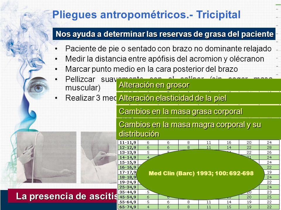 Pliegues antropométricos.- Tricipital