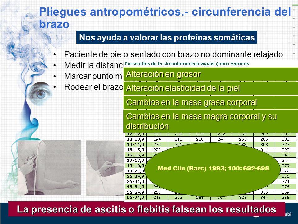 Pliegues antropométricos.- circunferencia del brazo