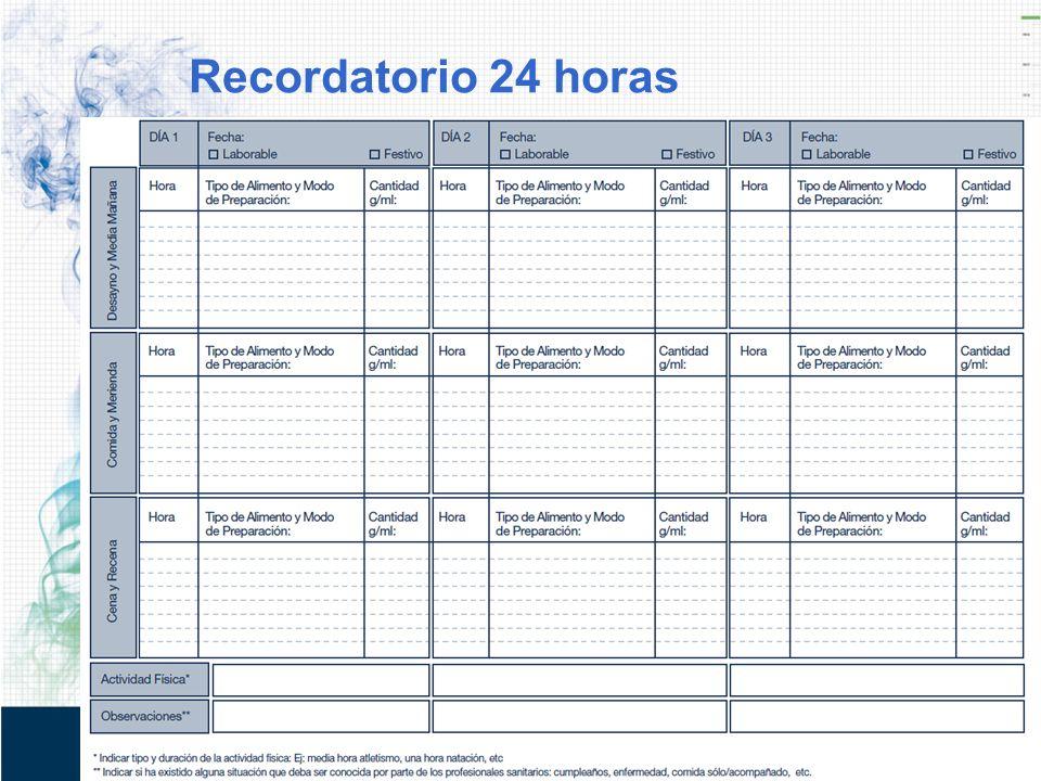 Recordatorio 24 horas REGISTRO DE INGESTA
