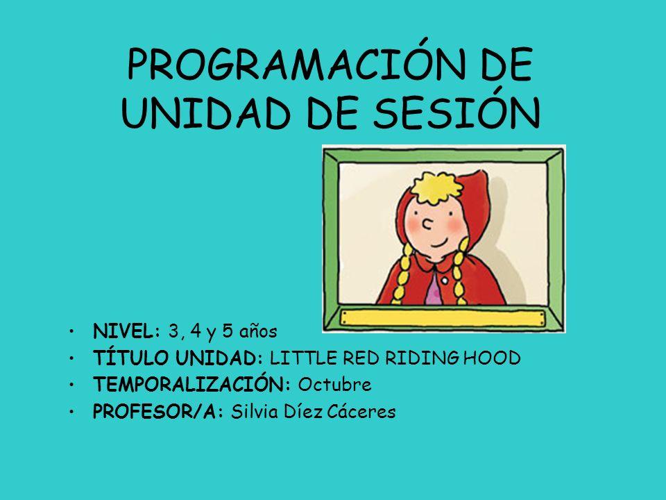 PROGRAMACIÓN DE UNIDAD DE SESIÓN