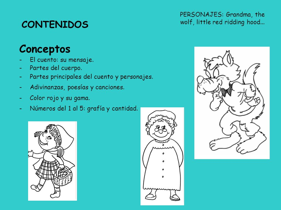 PERSONAJES: Grandma, the wolf, little red ridding hood...