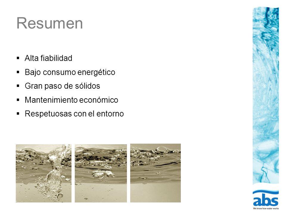 Resumen Alta fiabilidad Bajo consumo energético Gran paso de sólidos