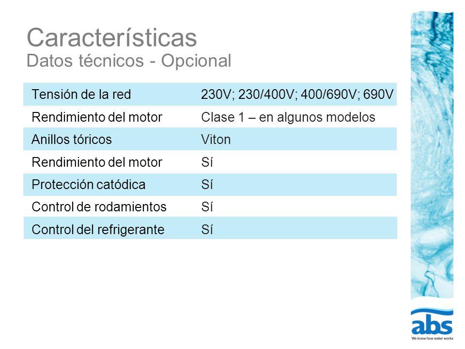 Características Datos técnicos - Opcional