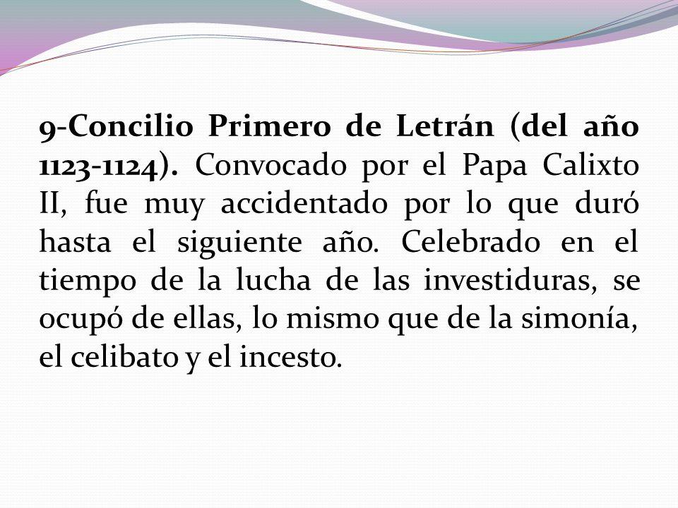 9-Concilio Primero de Letrán (del año 1123-1124)