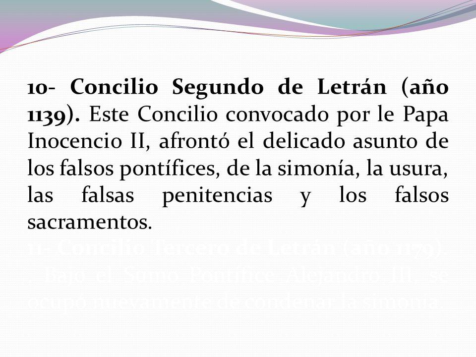 10- Concilio Segundo de Letrán (año 1139)