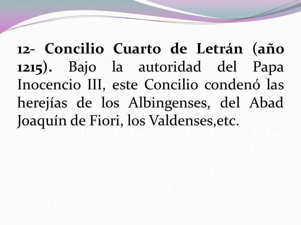 12- Concilio Cuarto de Letrán (año 1215)