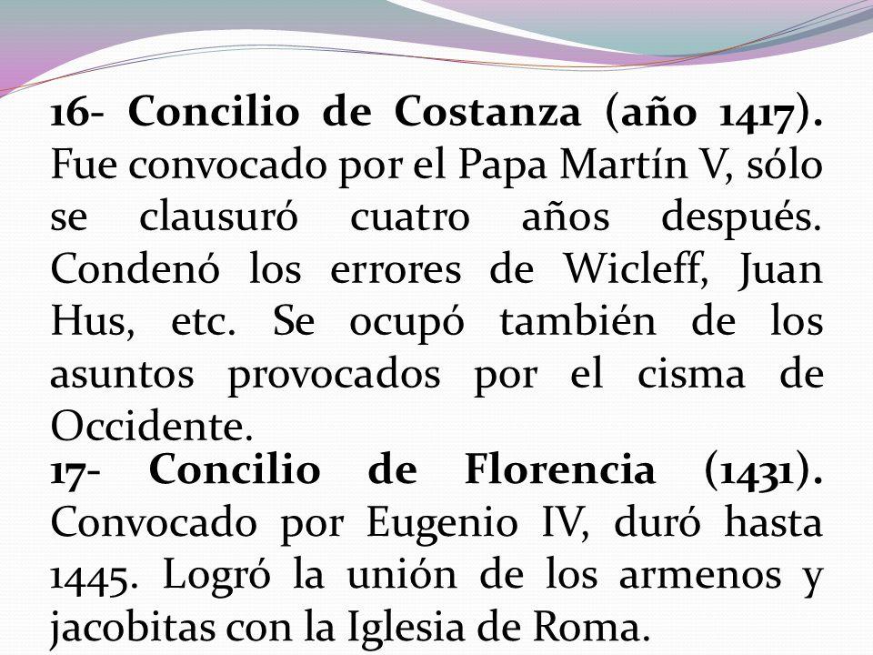 16- Concilio de Costanza (año 1417)