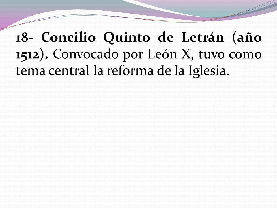 18- Concilio Quinto de Letrán (año 1512)
