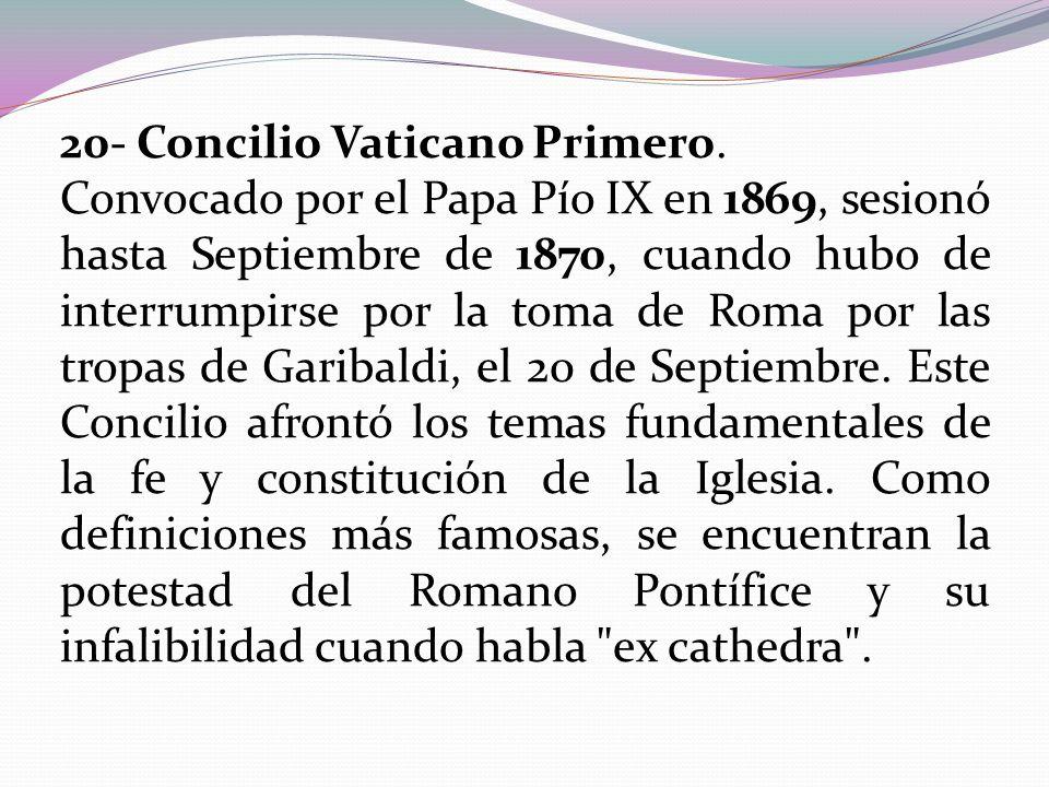 20- Concilio Vaticano Primero.