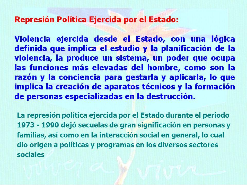 La represión política ejercida por el Estado durante el periodo 1973 - 1990 dejó secuelas de gran significación en personas y familias, así como en la interacción social en general, lo cual dio origen a políticas y programas en los diversos sectores sociales
