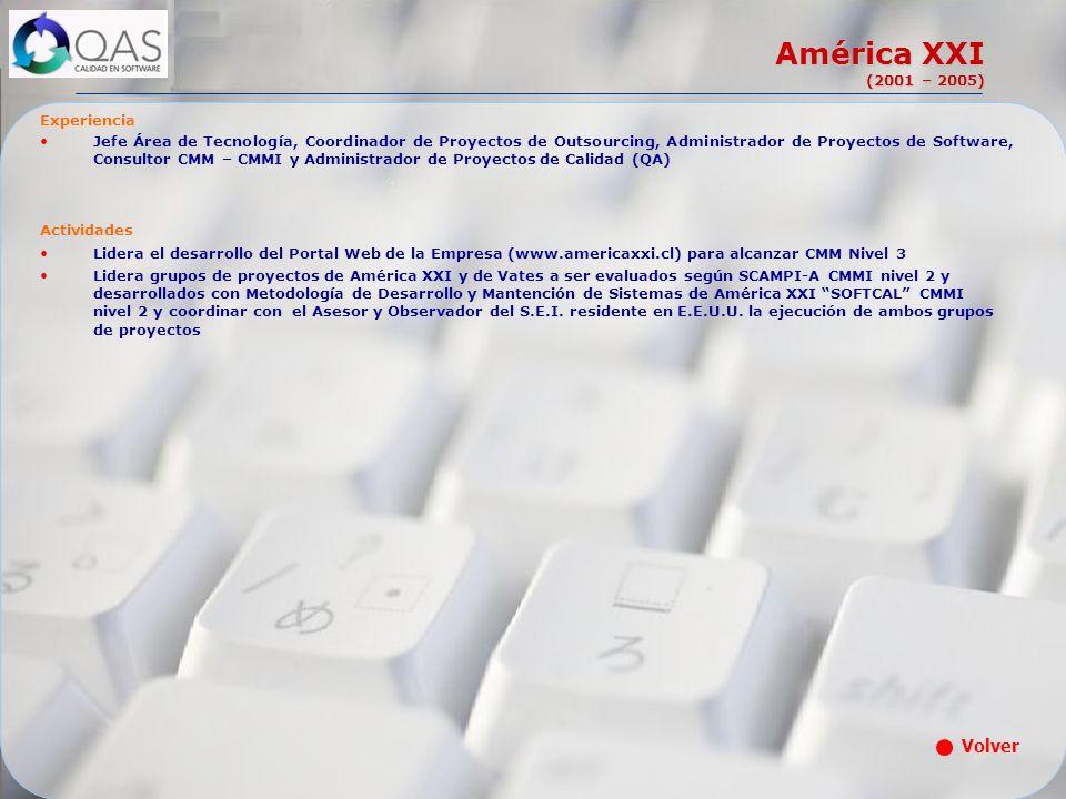 América XXI (2001 – 2005) Volver Experiencia