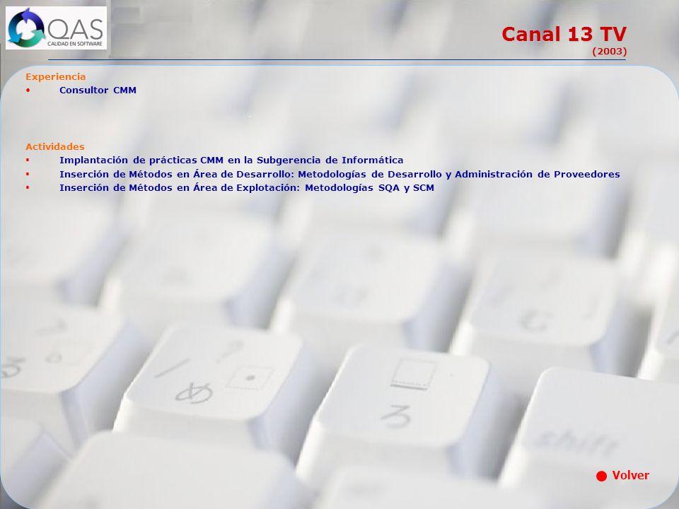 Canal 13 TV (2003) Volver Experiencia Consultor CMM Actividades