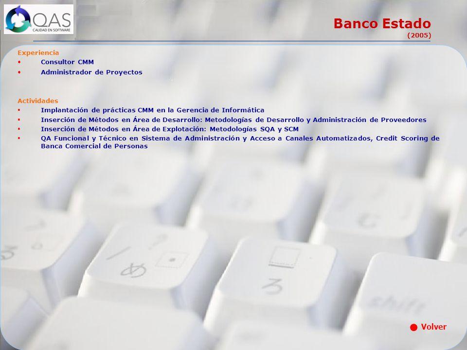 Banco Estado (2005) Volver Experiencia Consultor CMM