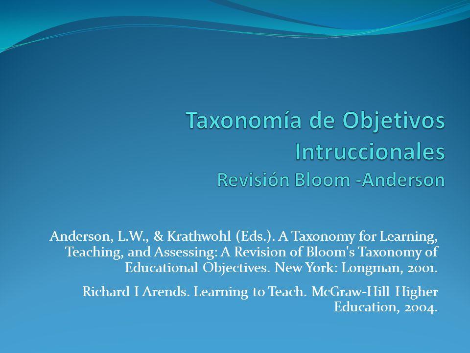 Taxonomía de Objetivos Intruccionales Revisión Bloom -Anderson