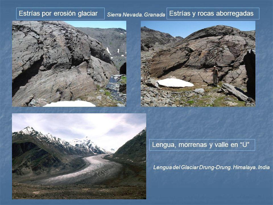 Estrías por erosión glaciar Estrías y rocas aborregadas