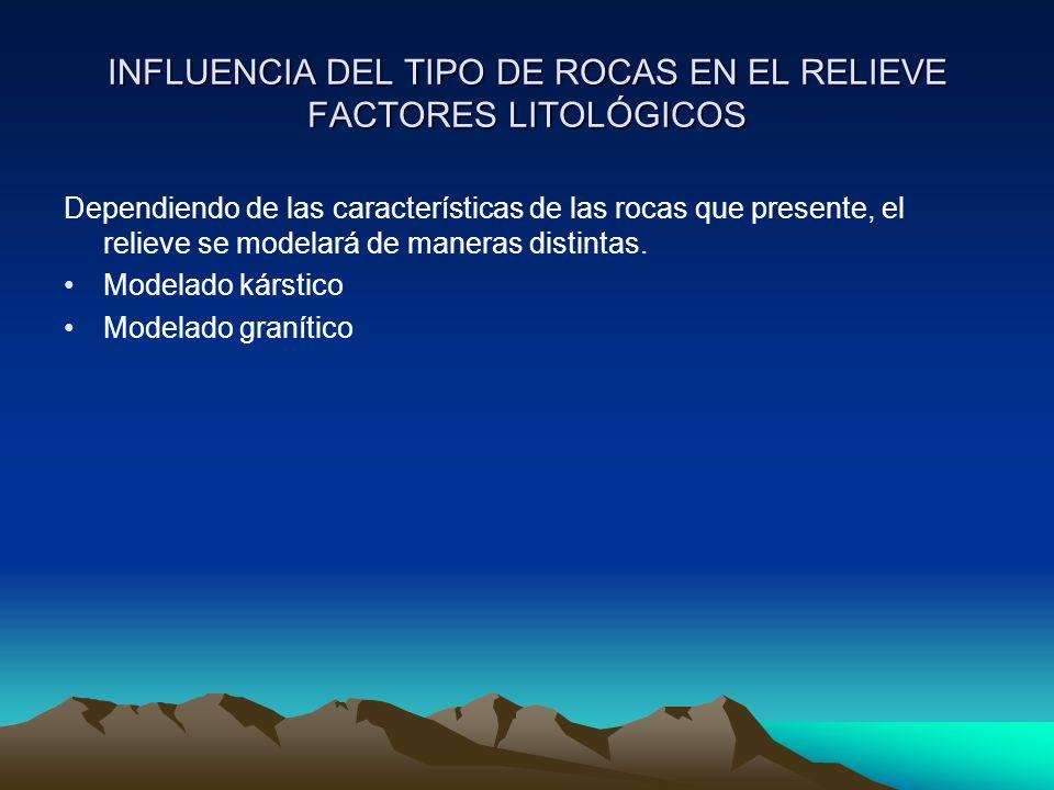 INFLUENCIA DEL TIPO DE ROCAS EN EL RELIEVE FACTORES LITOLÓGICOS