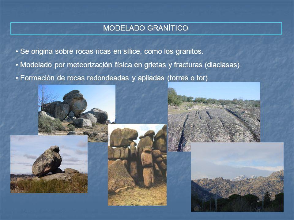 MODELADO GRANÍTICOSe origina sobre rocas ricas en sílice, como los granitos. Modelado por meteorización física en grietas y fracturas (diaclasas).