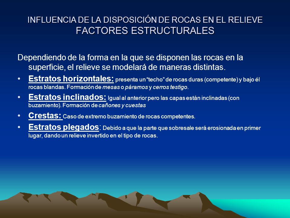 INFLUENCIA DE LA DISPOSICIÓN DE ROCAS EN EL RELIEVE FACTORES ESTRUCTURALES