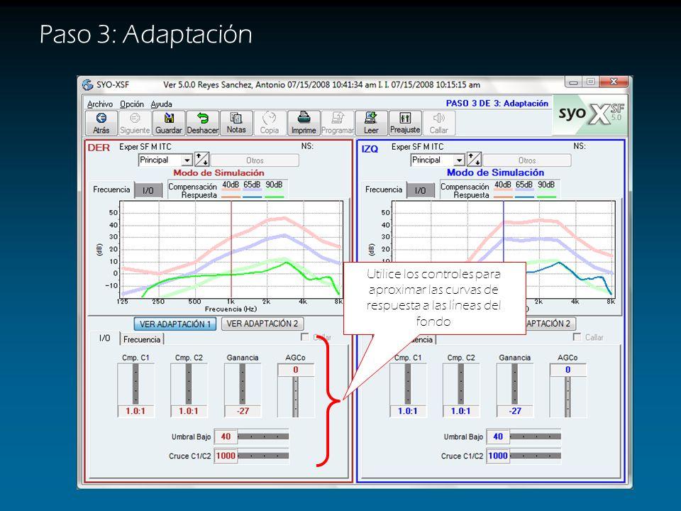 Paso 3: Adaptación Utilice los controles para aproximar las curvas de respuesta a las líneas del fondo.