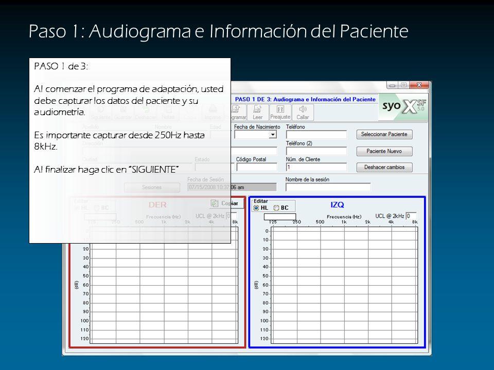 Paso 1: Audiograma e Información del Paciente