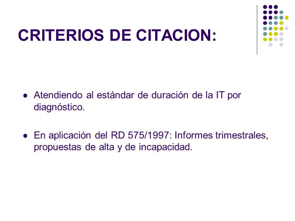 CRITERIOS DE CITACION:
