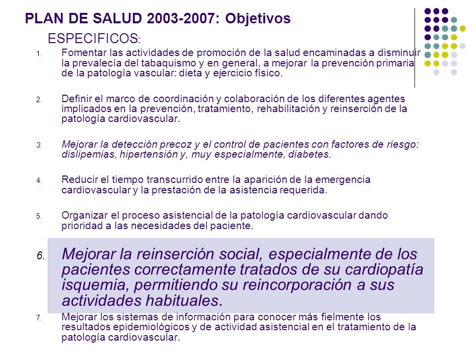 PLAN DE SALUD 2003-2007: Objetivos