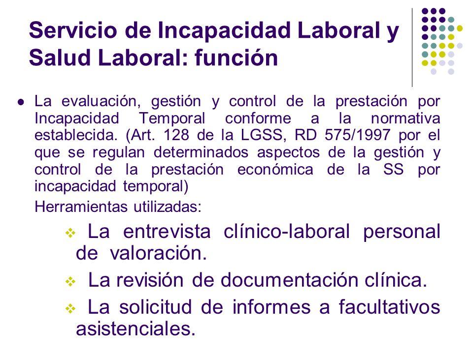 Servicio de Incapacidad Laboral y Salud Laboral: función