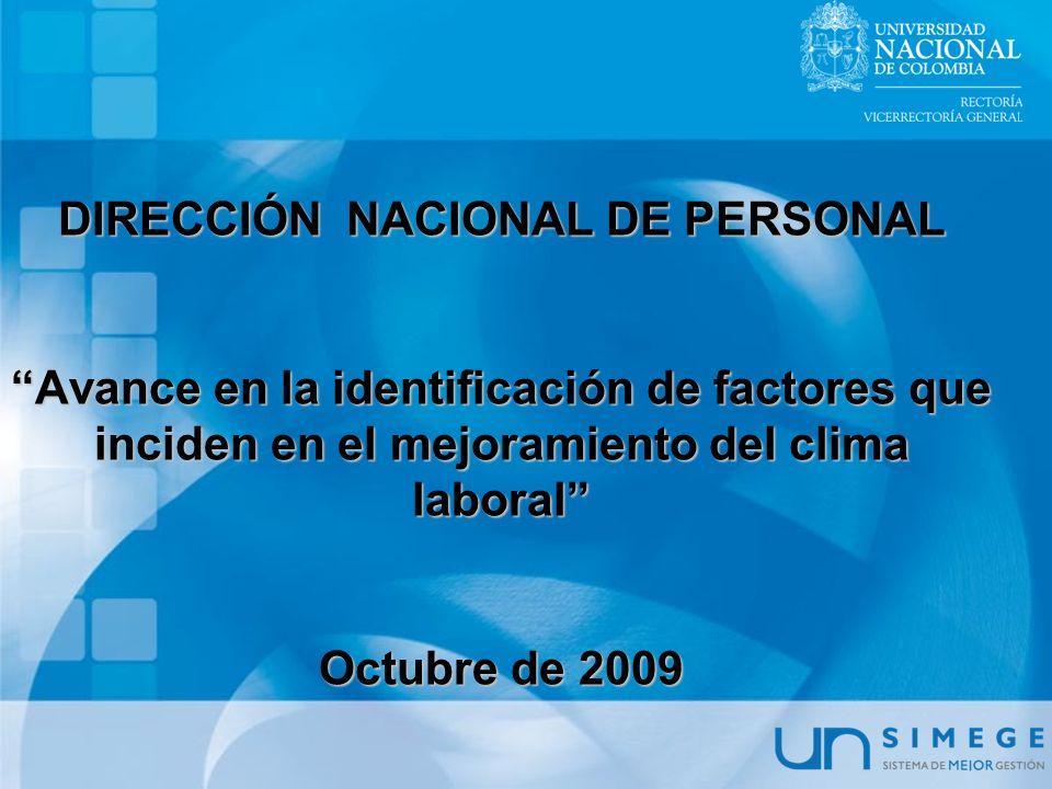 DIRECCIÓN NACIONAL DE PERSONAL Avance en la identificación de factores que inciden en el mejoramiento del clima laboral Octubre de 2009