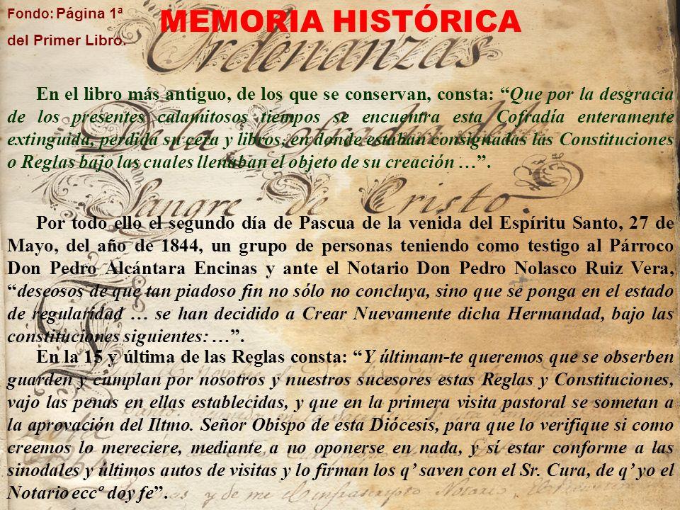 Fondo: Página 1ª del Primer Libro. MEMORIA HISTÓRICA.