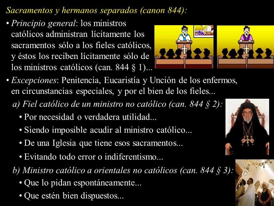 Sacramentos y hermanos separados (canon 844):