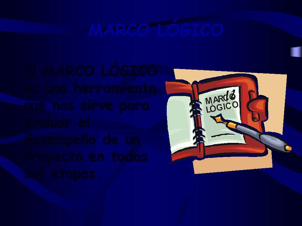 MARCO LÓGICO El MARCO LÓGICO es una herramienta que nos sirve para evaluar el desempeño de un Proyecto en todas sus etapas.