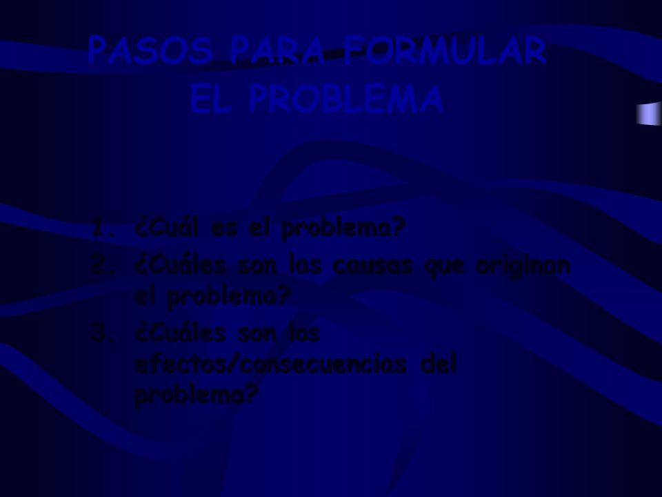 PASOS PARA FORMULAR EL PROBLEMA