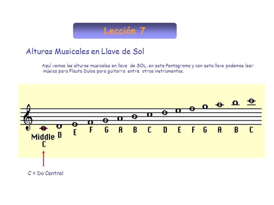 Lección 7 Alturas Musicales en Llave de Sol C = Do Central