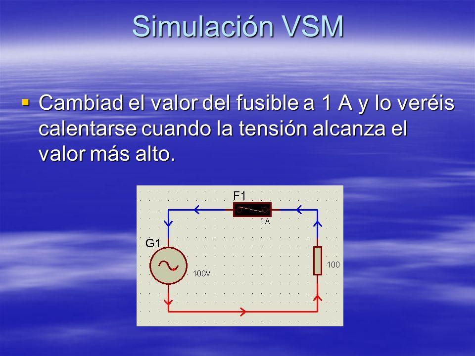 Simulación VSM Cambiad el valor del fusible a 1 A y lo veréis calentarse cuando la tensión alcanza el valor más alto.