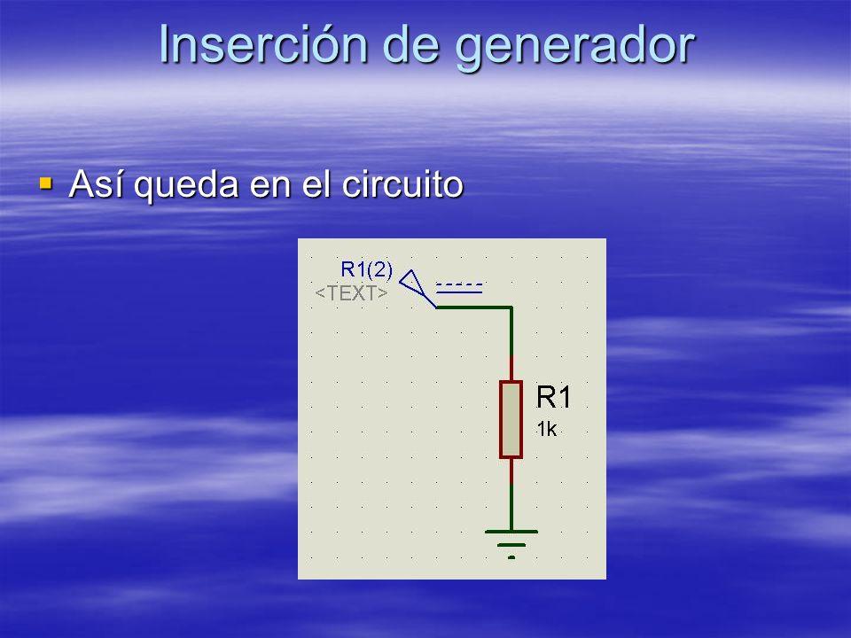 Inserción de generador