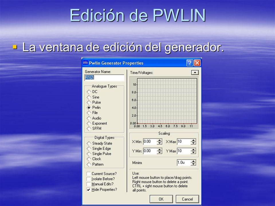 Edición de PWLIN La ventana de edición del generador.