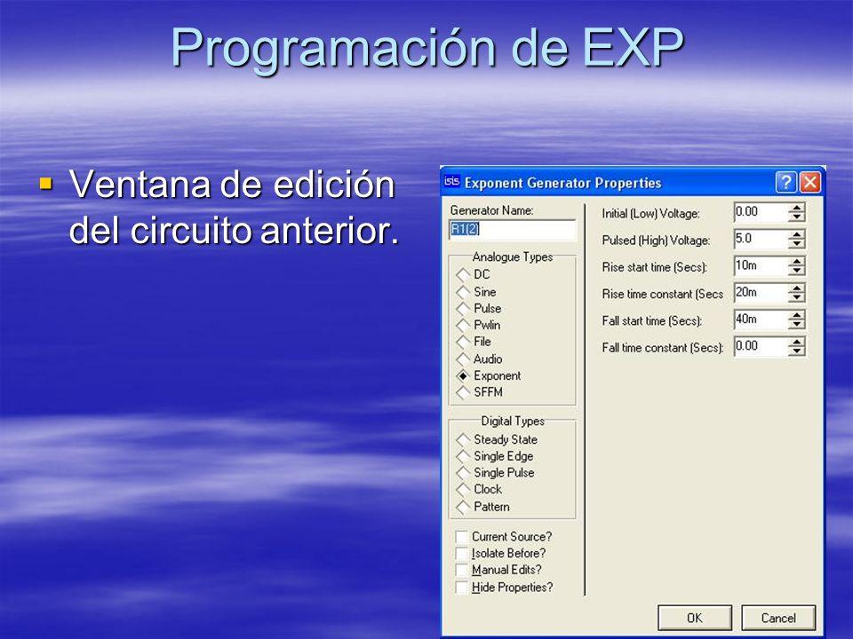 Programación de EXP Ventana de edición del circuito anterior.