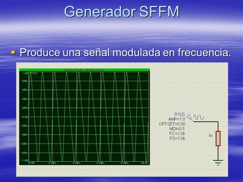Generador SFFM Produce una señal modulada en frecuencia.